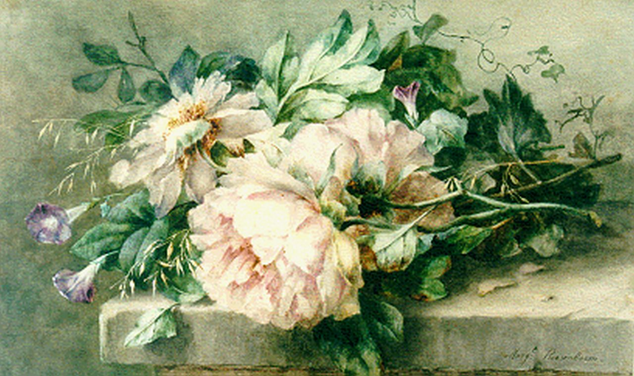 Roosenboom M.C.J.W.H.  | 'Margaretha' Cornelia Johanna Wilhelmina Henriëtta Roosenboom, A still life with peonies and hedge bindweed, Aquarell auf Papier 40,6 x 65,2 cm, signed l.r.