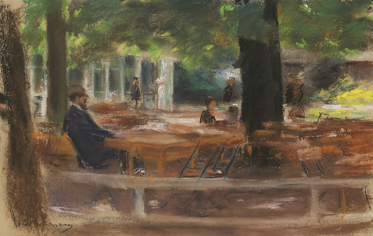 Max Liebermann | The terrace of Hotel Hamdorff, Laren, Pastell auf Papier, 31,3 x 48,5 cm, signed l.l. und painted circa 1903