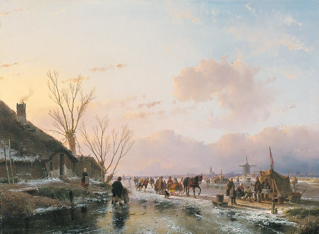Andreas Schelfhout | Skaters on a sunny winterday, Öl auf Tafel, 55,0 x 74,5 cm, signed lower left und dated 1850