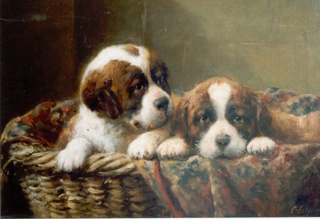 Otto Eerelman | Two St. Bernhard puppies in a basket, Öl auf Leinwand, 29,0 x 44,0 cm, signed l.r.