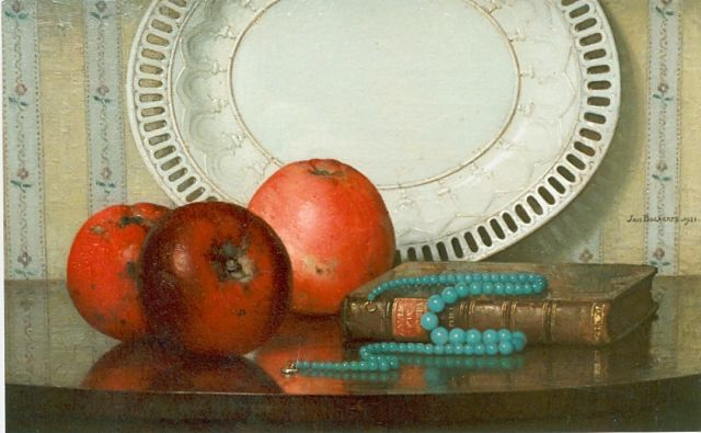 Jan Bogaerts | Still life with apples, Öl auf Leinwand, 25,5 x 40,3 cm, signed l.r. und dated 1921