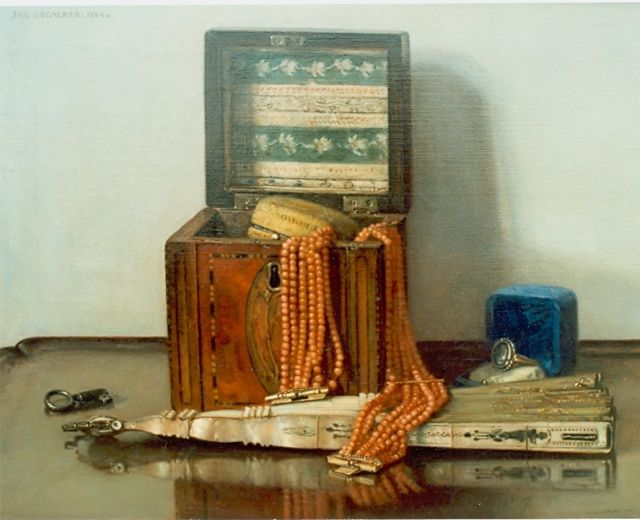 Jan Bogaerts | Still life with a coral necklace and jewellery box, Öl auf Leinwand, 30,0 x 40,0 cm, signed u.l. und dated 1942