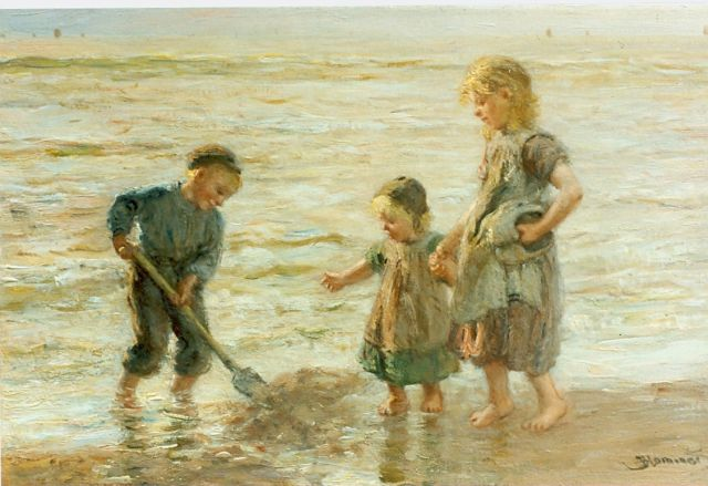Bernard Blommers | Children playing in the surf, Öl auf Leinwand, 30,5 x 46,0 cm, signed l.l.