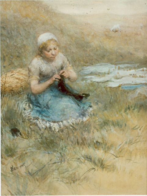 Bernard Blommers | Girl knitting in the dunes, Aquarell auf Papier, 48,3 x 35,5 cm, signed l.l.