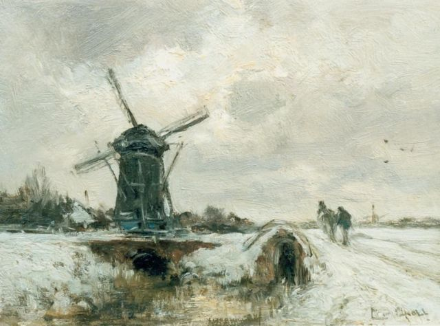 Louis Apol | Winter landscape with a windmill and horse, Öl auf Tafel, 20,0 x 27,0 cm, signed l.r.
