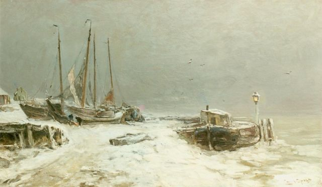 Louis Apol | Winter landscape with snow-covered boats, Öl auf Leinwand, 59,5 x 100,0 cm, signed l.r.