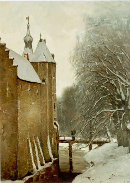 Louis Apol | The castle of Doorwerth in winter, Öl auf Leinwand, 107,6 x 80,5 cm, signed l.r.