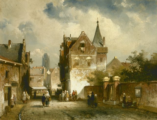 Charles Leickert | Figures in a sunlit town, Öl auf Tafel, 14,9 x 19,1 cm, signed l.r.