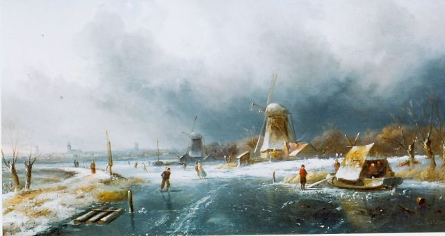 Charles Leickert | Skaters on a frozen waterway, Öl auf Tafel, 300,0 x 420,0 cm, signed l.r.