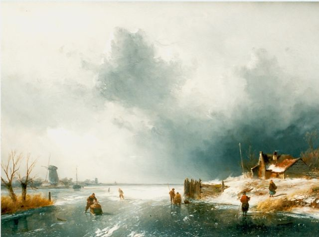 Charles Leickert | Skaters on a frozen waterway, Öl auf Tafel, 37,5 x 52,0 cm, signed l.l.