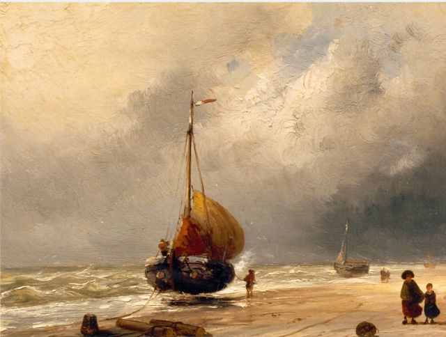 Charles Leickert | Beached boats, Öl auf Tafel, 20,6 x 27,1 cm, signed l.r.