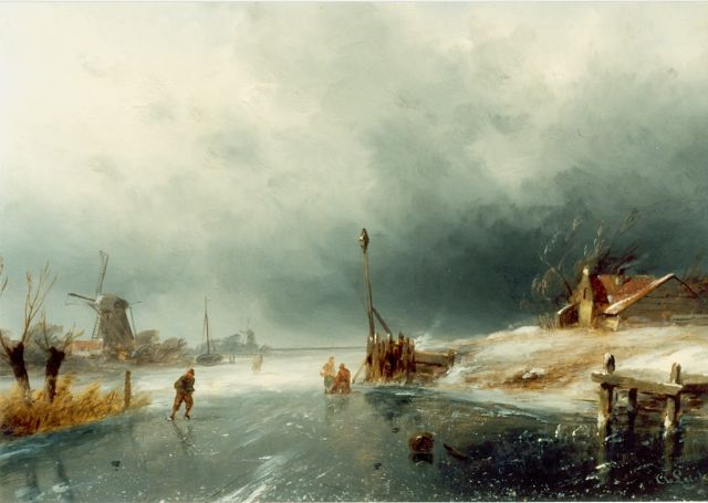 Charles Leickert | Skaters on a frozen waterway, Öl auf Tafel, 23,2 x 28,5 cm, signed l.r.