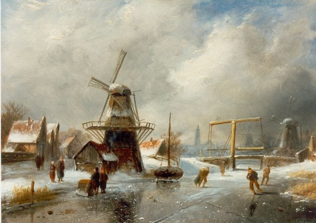 Charles Leickert | Skaters on the ice, Overtoom Amsterdam, Öl auf Tafel, 18,0 x 26,5 cm, signed l.r.