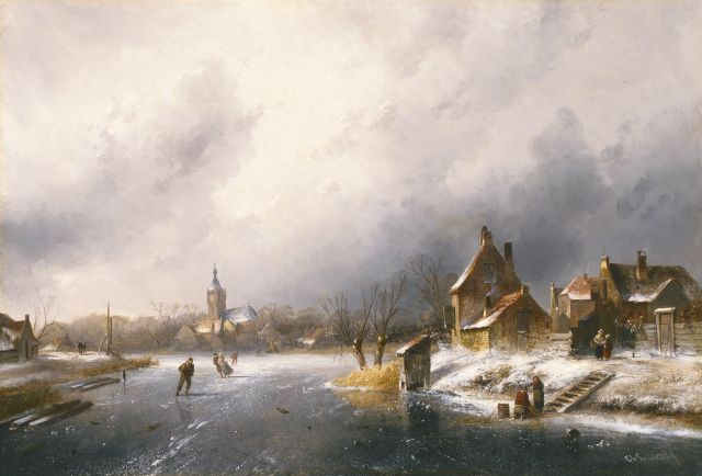Charles Leickert | A winter landscape with skaters on the ice, Öl auf Leinwand, 45,0 x 65,5 cm, signed l.r.