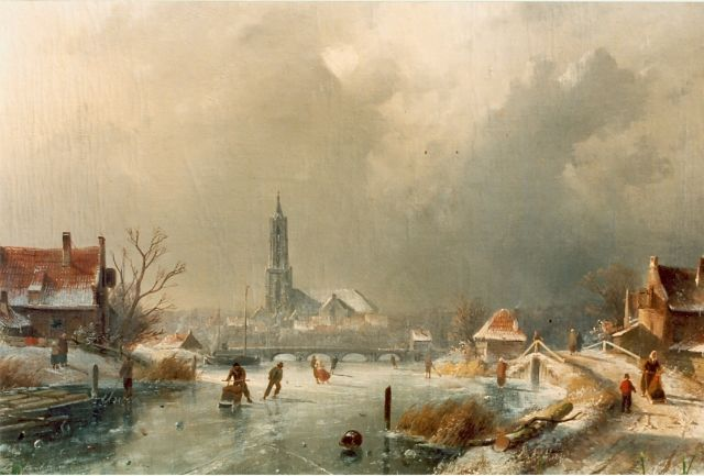 Charles Leickert | Skaters on the ice,  Amersfoort in the distance, Öl auf Leinwand, 44,5 x 65,5 cm, signed l.l.