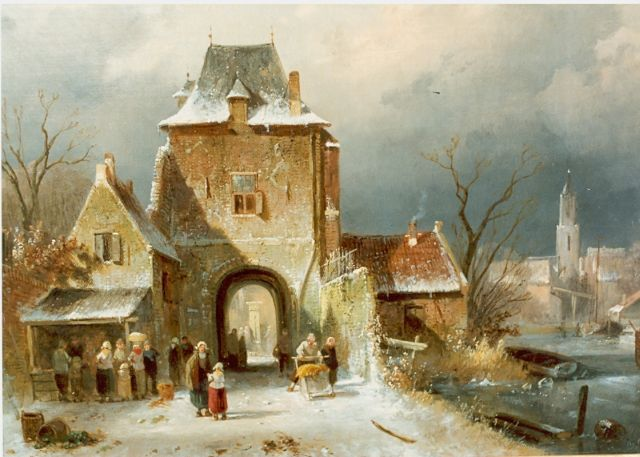 Charles Leickert | Figures by a town-gate, Öl auf Leinwand, 30,0 x 36,2 cm, signed l.r.