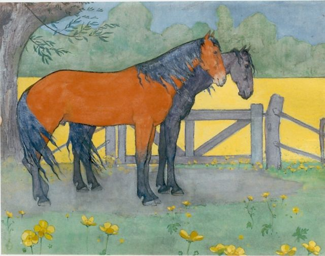Jan Voerman sr. | Two horses, Gouache auf Holzfaser, 25,0 x 32,0 cm, signed signed with monogram