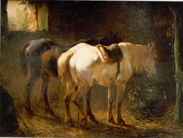 Wouterus Verschuur | Stable interior with two horses, Öl auf Leinwand auf Tafel, 18,1 x 24,2 cm, signed l.r.