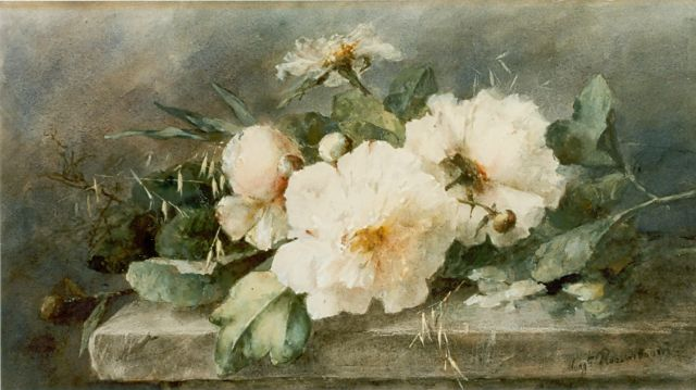 Margaretha Roosenboom | Peonies on a marble ledge, Aquarell auf Papier, 39,5 x 74,5 cm, signed l.r.