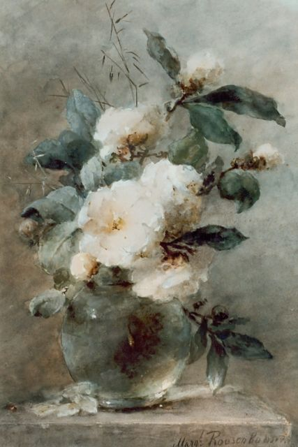 Margaretha Roosenboom | White roses in a glass vase, Gouache auf Pappe, 69,0 x 47,5 cm, signed l.r.