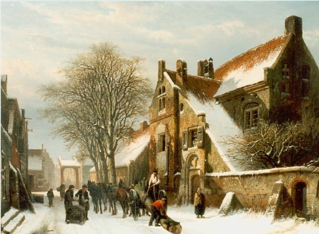 Springer C.  | A view of Hasselt in winter, Öl auf Leinwand, 46,0 x 62,0 cm, signed l.l. und dated 1862