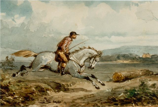 Springer C.  | An experienced horseman, Aquarell auf Papier, 13,1 x 19,0 cm, signed l.l. und dated '60