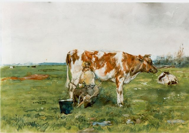 Willem de Zwart | Milking time, Aquarell auf Papier, 45,5 x 68,0 cm, signed l.r.