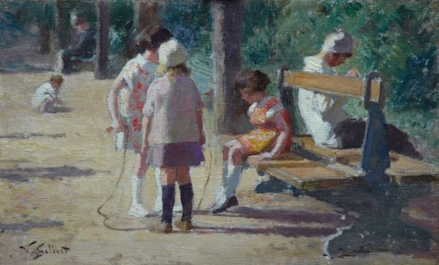 Gilbert V.G.  | Children playing in a park, Öl auf Tafel 13,6 x 22,0 cm, signed l.l.