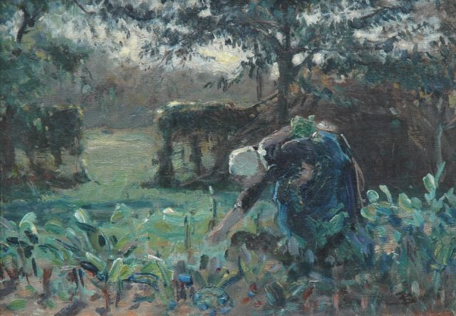 Bernard Blommers | Working in the fields, Öl auf Leinwand, 25,0 x 35,3 cm, signed l.r. with monogram