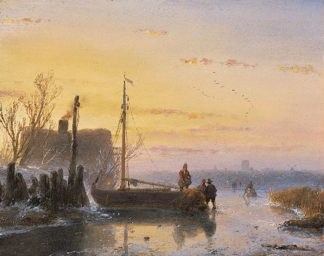 Andreas Schelfhout | Skaters near a frozen up fishing boat, Öl auf Tafel, 15,1 x 19,1 cm, signed l.l. und painted circa 1850