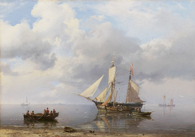 Hermanus Koekkoek | Loading the scooner at calm weather, Öl auf Leinwand, 39,0 x 55,7 cm, signed l.l. und dated 1849