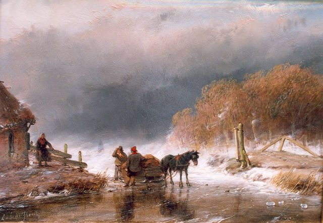Andreas Schelfhout | A horse sledge with figures on ice, Öl auf Tafel, 15,8 x 23,0 cm, signed l.l. und painted ca. 1860