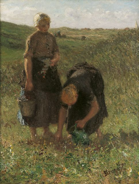 Bernard Blommers | Picking flowers in the dunes, Öl auf Leinwand, 71,7 x 56,0 cm, signed l.r.