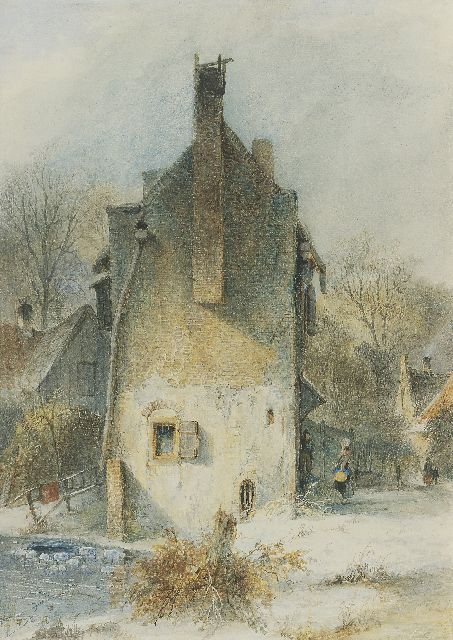 Andreas Schelfhout | A Dutch town view in winter, Feder, braune Tinte und Aquarell auf Papier, 37,9 x 27,0 cm