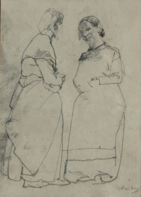 Breitner G.H.  | Two servants busy talking, Schwarze Kreide auf Papier, 23,5 x 16,5 cm, signed l.r.