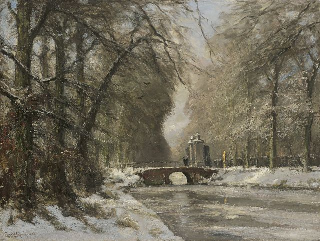 Louis Apol | The entrance of Huis ten Bosch in winter, Öl auf Leinwand, 60,4 x 80,5 cm, signed l.l. und dated 1927