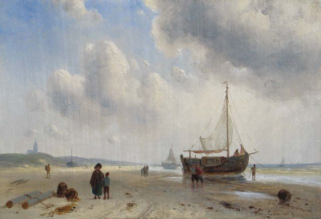 Charles Leickert | Barges and fishermen on the beach of Scheveningen, Öl auf Tafel, 15,8 x 23,2 cm, signed l.r.