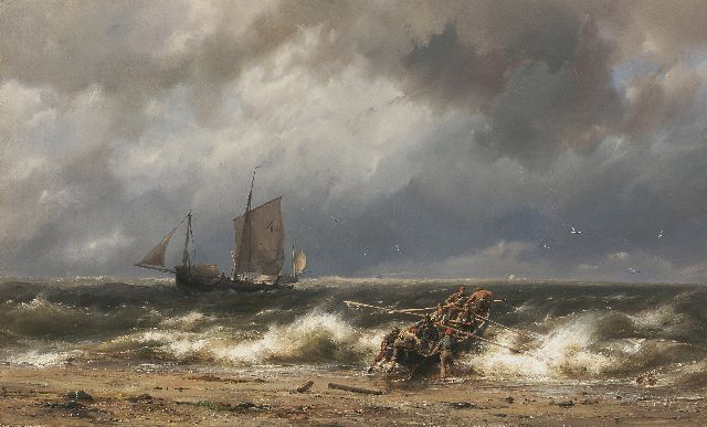Hermanus Koekkoek | Sailing vessels off the coast in choppy seas, Öl auf Leinwand, 46,1 x 76,6 cm, signed l.c.