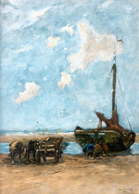 Willem de Zwart | Unloading the catch, Scheveningen, Aquarell auf Papier, 56,5 x 40,5 cm, signed l.r.