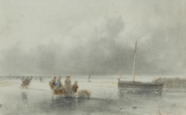 Andreas Schelfhout | A frozen waterway with skaters, Feder, Tinte und Aquarell auf Papier, 12,0 x 18,5 cm, signed l.r.