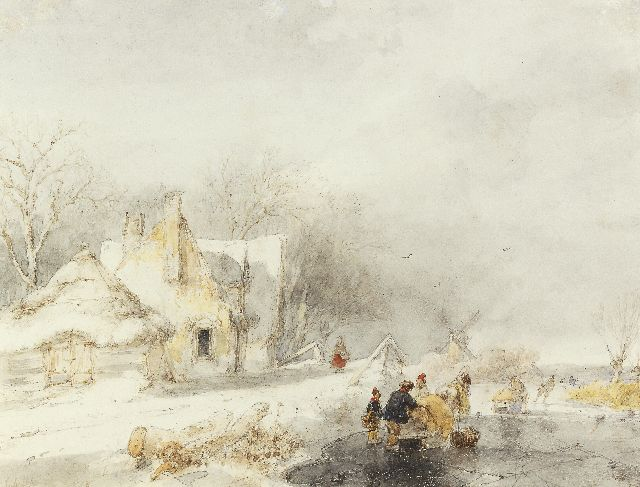 Andreas Schelfhout | Skaters in a frozen winter landscape, Aquarell auf Papier, 20,9 x 26,4 cm, signed l.l. und painted 1848