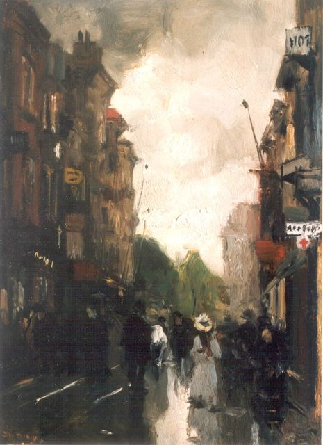 Floris Arntzenius | A view of 'De Korte Poten', The Hague, Öl auf Tafel, 29,0 x 20,7 cm, signed l.l.