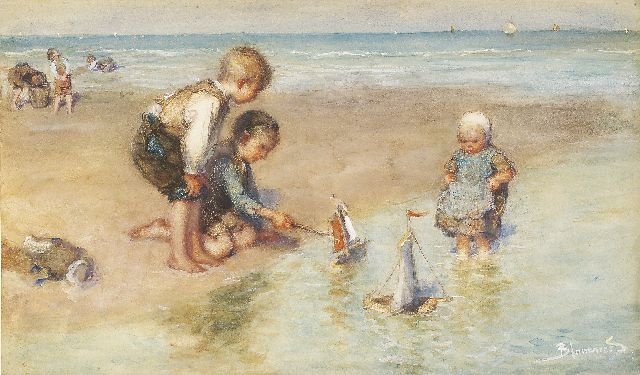 Bernard Blommers | Playing on the beach, Aquarell und Gouache auf Papier, 31,8 x 54,5 cm, signed l.r.