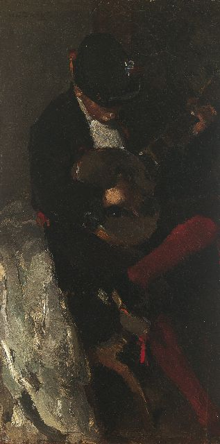 Willem de Zwart | The young musician in Spanish costume, Öl auf Tafel, 42,0 x 21,7 cm, signed u.l. und painted 1889