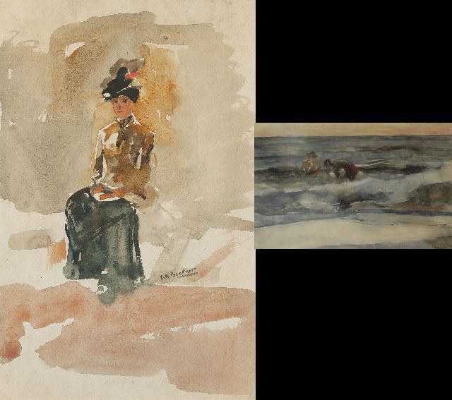Breitner G.H.  | An elegant woman, seated; verso: two figures boys in the breakers, Aquarell auf Papier, 53,6 x 34,9 cm, signed r.c. and on the reverse