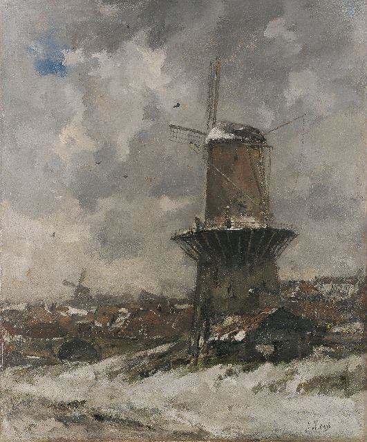 Jacob Maris | A windmill in a winter landscape, Öl auf Leinwand, 111,0 x 93,0 cm, signed l.r. und painted 1890