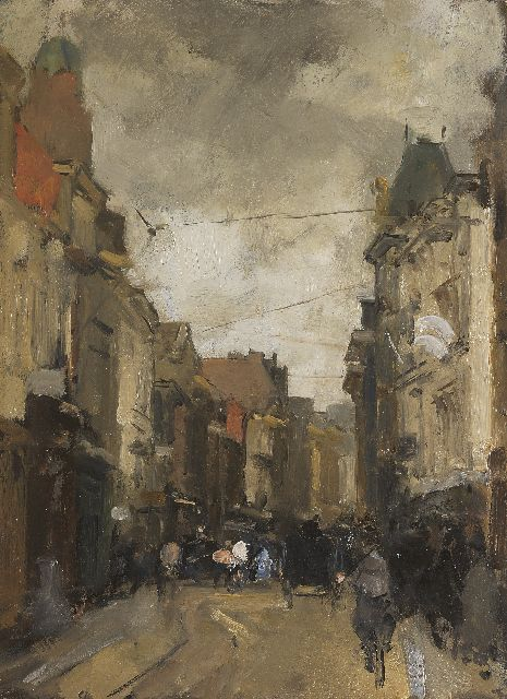 Floris Arntzenius | The Gravenstraat, The Hague, Öl auf Tafel, 32,0 x 23,7 cm