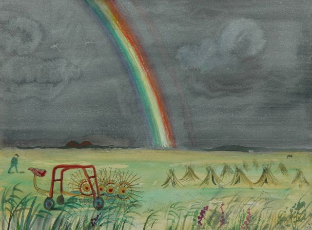 Harm Kamerlingh Onnes | A rainbow on Terschelling, Aquarell auf Papier, 27,8 x 37,6 cm, signed l.r. with monogram und dated '61