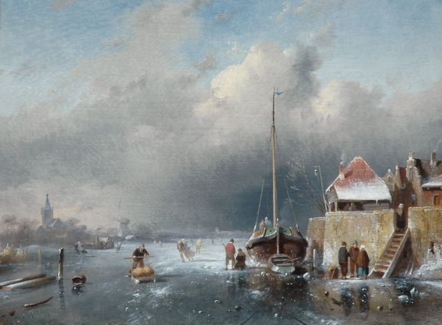 Charles Leickert | Skaters on a Dutch waterway, an approaching blizzard in the distance, Öl auf Tafel, 24,2 x 31,2 cm, signed l.l. und dated '64