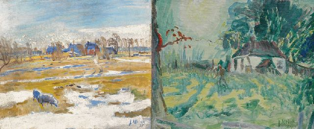 Jan Altink | Winter landscape with farms; verso: farmer on farmyard, Öl auf Leinwand, 51,8 x 60,5 cm, signed l.r. und datiert '35
